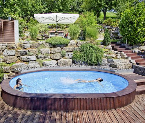 Oval schwimmbecken komplett angebot lago sb einbau for Aufbau pool mit stahlwand